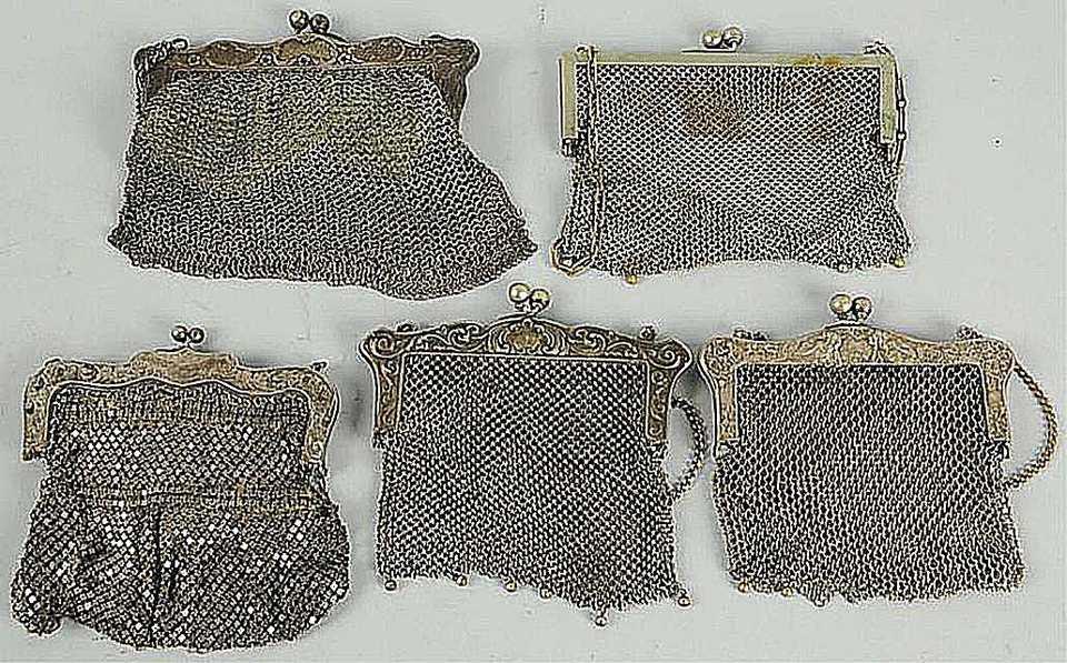 Five German Silver Purses, c. late 1890s