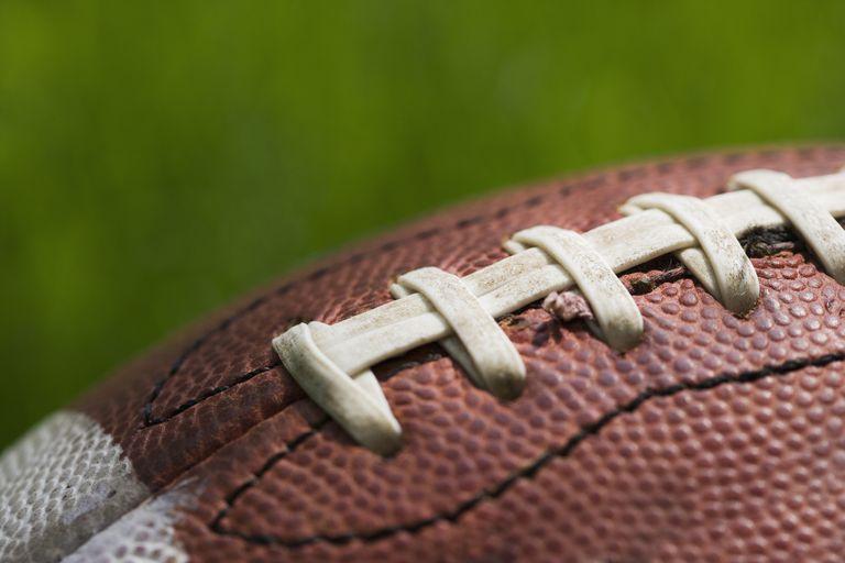 Close up of football stitching