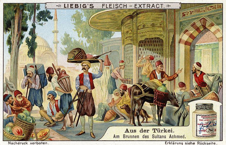 Image of a fountain in the Ottoman Empire used for advertising in Europe, c. 1910.