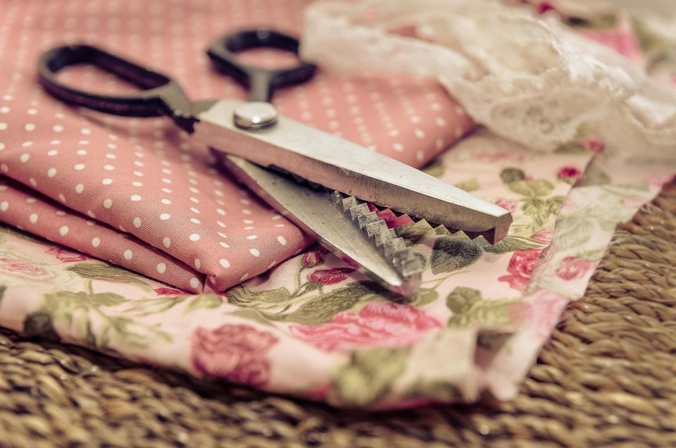 Fabric and pinking scissors