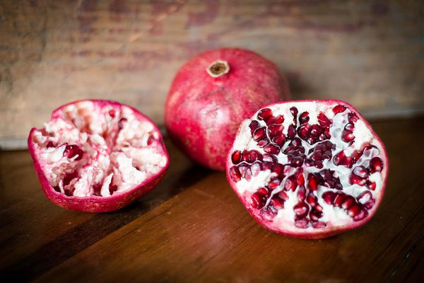 Two pomegranates, a fruit that may be considered a fertility superfood