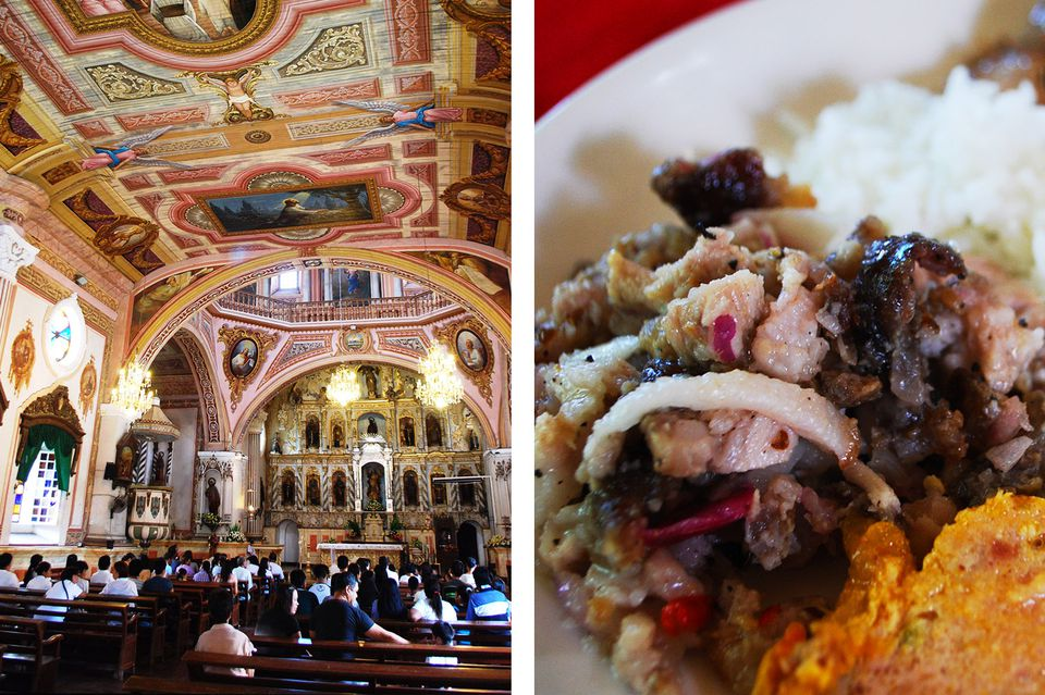 Left to right: interior of Betis Church, a plateful of rice and Pampanga delicacy sisig