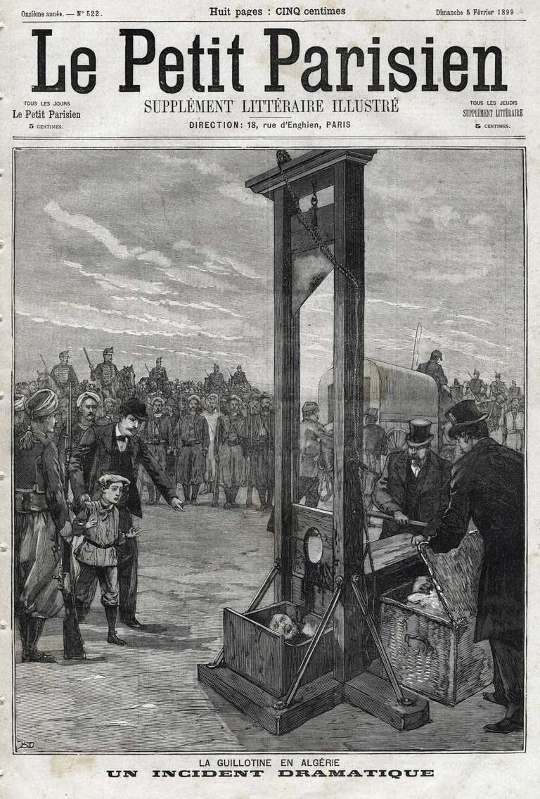 The Guillotine in Algeria, Execution for murder of prisonners, under the eye of the victims young nephew, forced to watch heads roll in order to acknowledge revenge