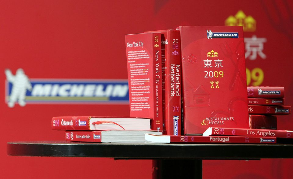 Michelin guides on a table