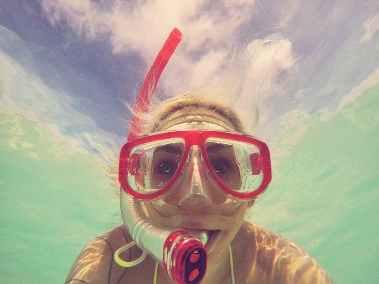View of woman snorkeling underwater