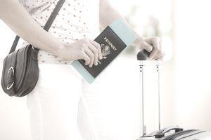 Woman holding passport
