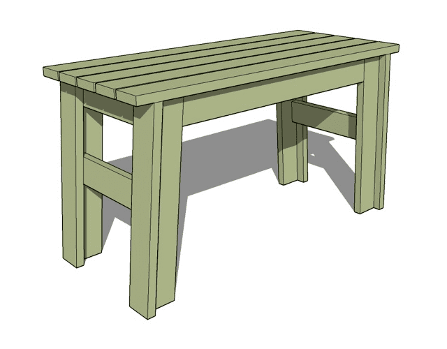 Simple Furniture Designs  Free Bench Plan  Illustration of a wood bench. 15 Free Bench Plans for the Beginner and Beyond