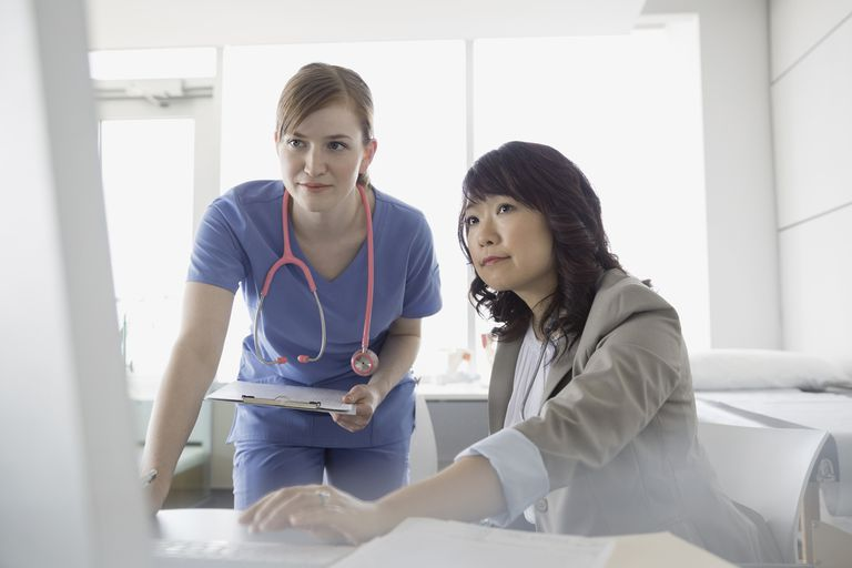 Doctor and nurse reviewing medical chart in clinic