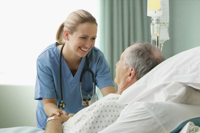 Female nurse with male patient