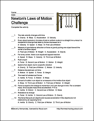 Newton S Law Of Motion For Kids Homeschooling