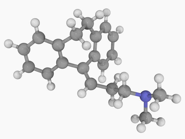 Diagram of an amitriptyline molecule.