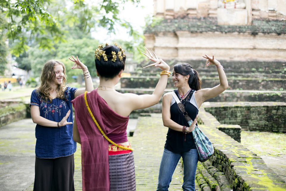 Tourists dancing in Chiang Mai, Thailand