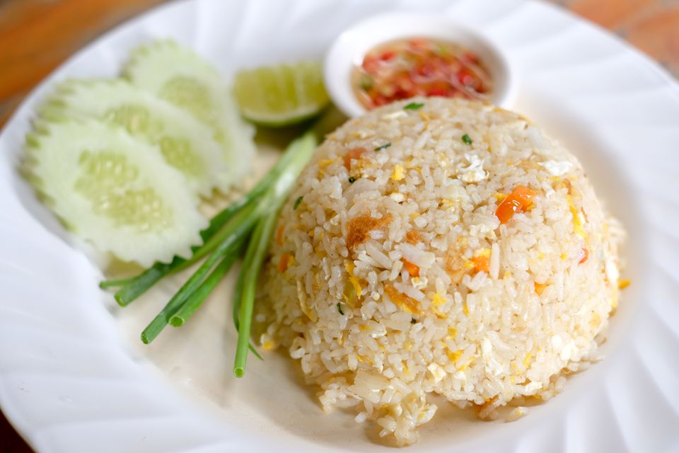 High Angle View Of Fried Rice With Vegetables In Plate