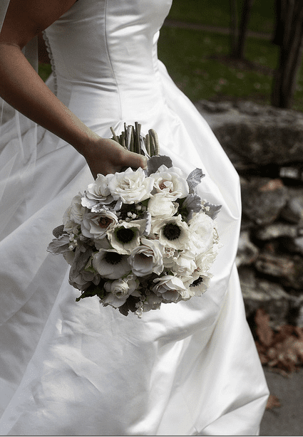 White bridal bouquets classic and elegant choose white flowers with black centers for formal weddings photo courtesy of blue bouquet bluebouquet mightylinksfo Images