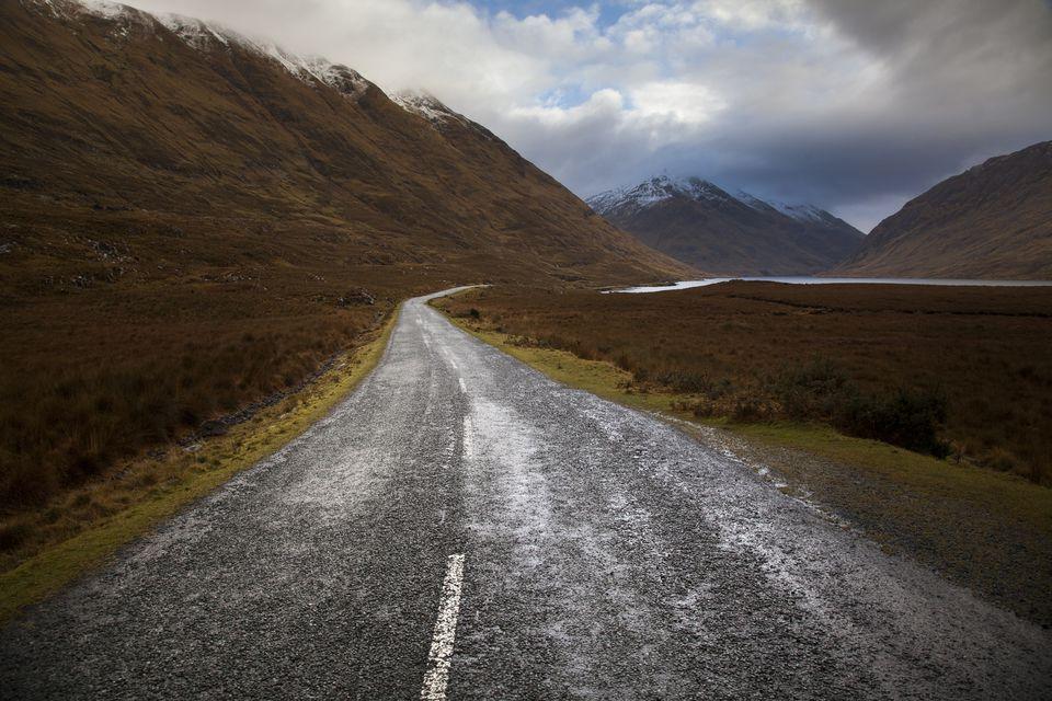 Deserted winter road, doolough, Mayo, Ireland