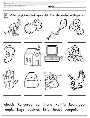 Worksheets and Activities for the Letter K