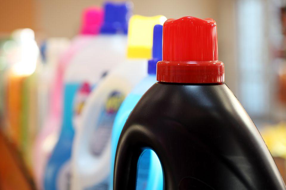 Detergents in plastic bottles
