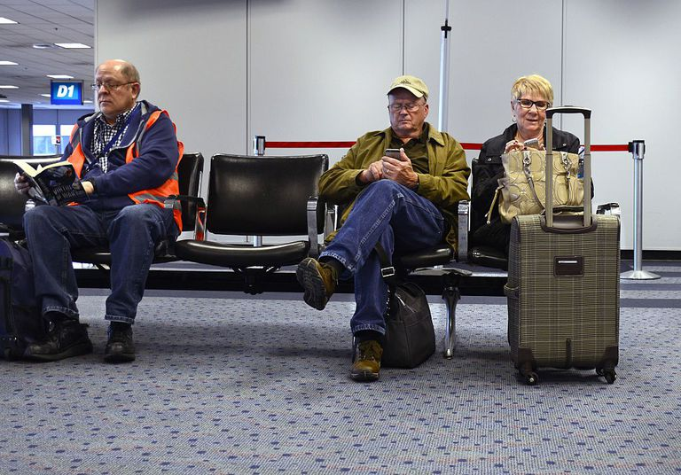 People waiting for plane to take off