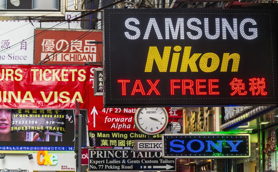 Shop signs on Nathan Rd, Kowloon, Hong Kong, Southeast Asia