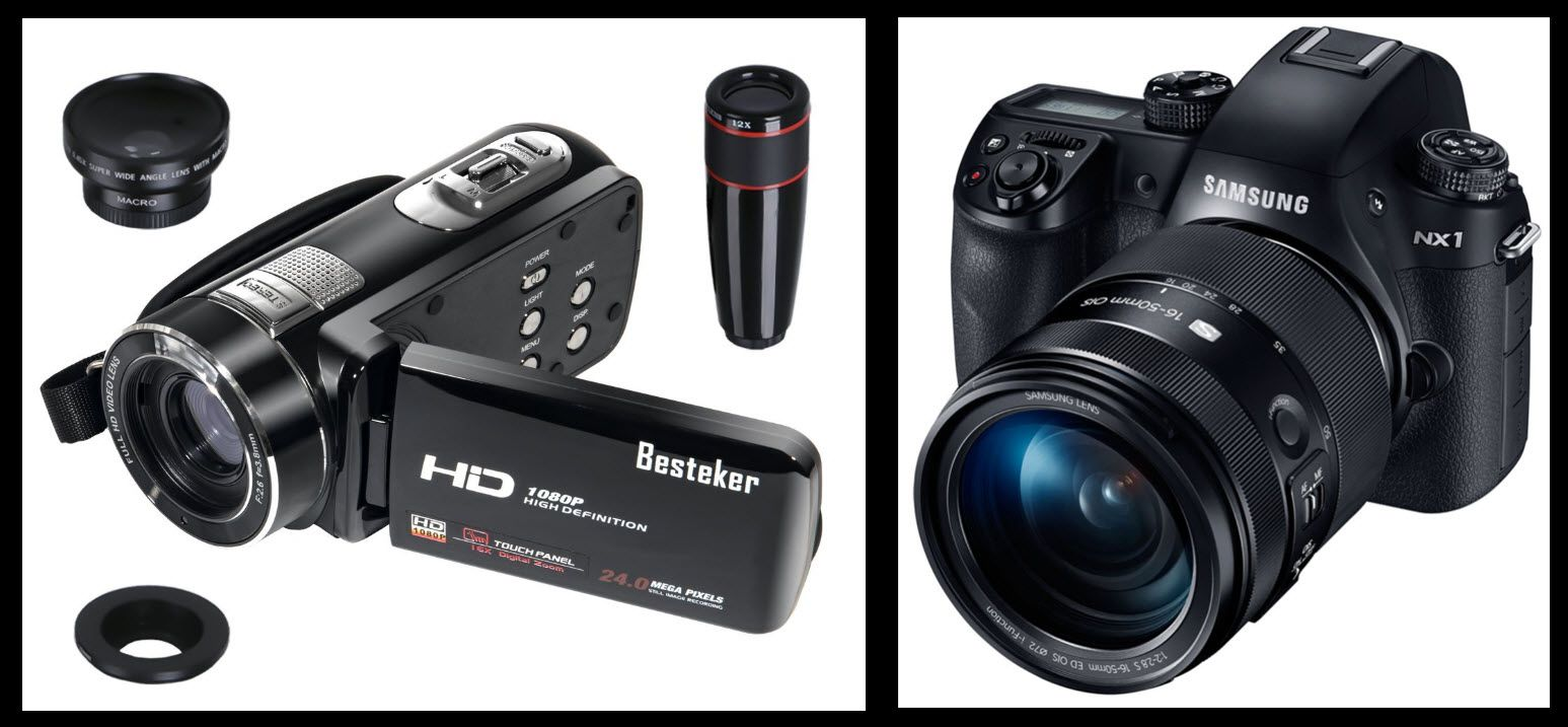 An image of both a camcorder with different lens options and a DSLR camera that records 4k video.