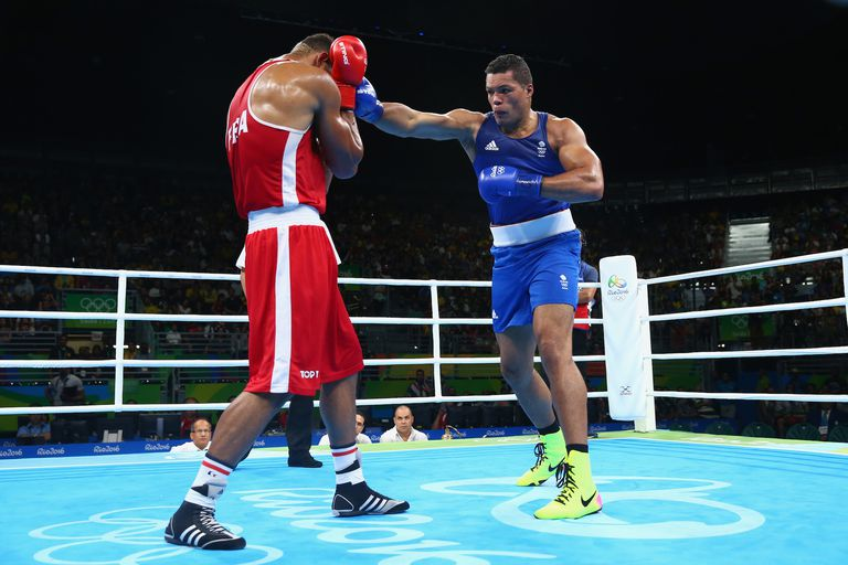 RIO DE JANEIRO, BRAZIL - AUGUST 21: Tony Victor James Yoka of France and Joe Joyce of Great Britain compete during the Men's Super Heavy (+91kg) Final Bout on Day 16 of the Rio 2016 Olympic Games at Riocentro - Pavilion 6 on August 21, 2016 in Rio de Janeiro, Brazil. (Photo by Alex Livesey/Getty Images)