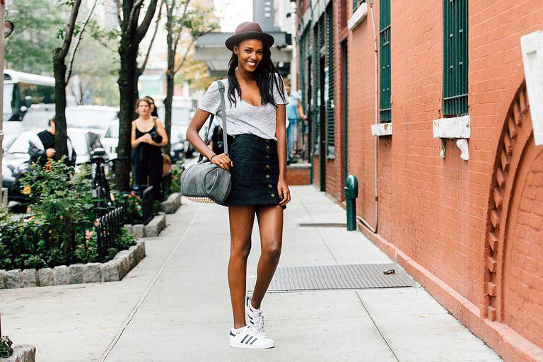 street style denim skirt