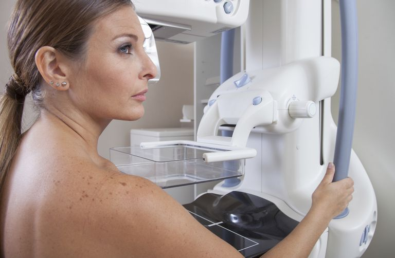 woman having a mammogram which will be given a BIRADS score
