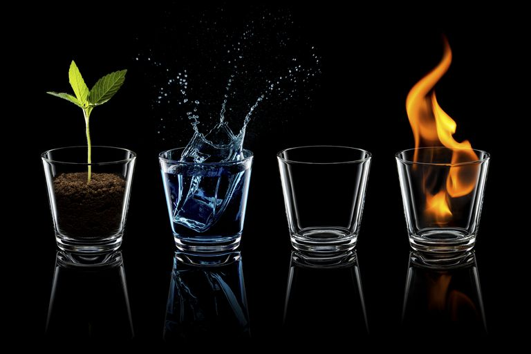 The four best-known alchemy elements are earth, air, fire, and water. A fifth element is known in most cultures. It's usually metal, wood, or aether.