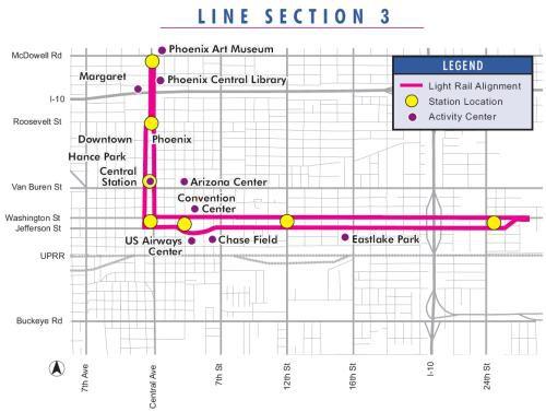 Phoenix Light Rail Line Map Section 3
