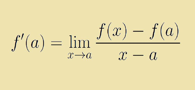 The definition of the derivative is given by this formula.