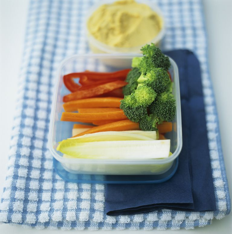 Cut vegetables and hummus
