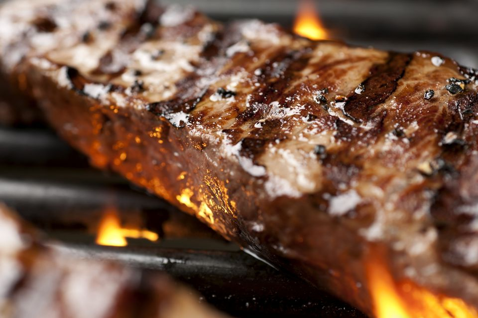 New York strip steak on the grill
