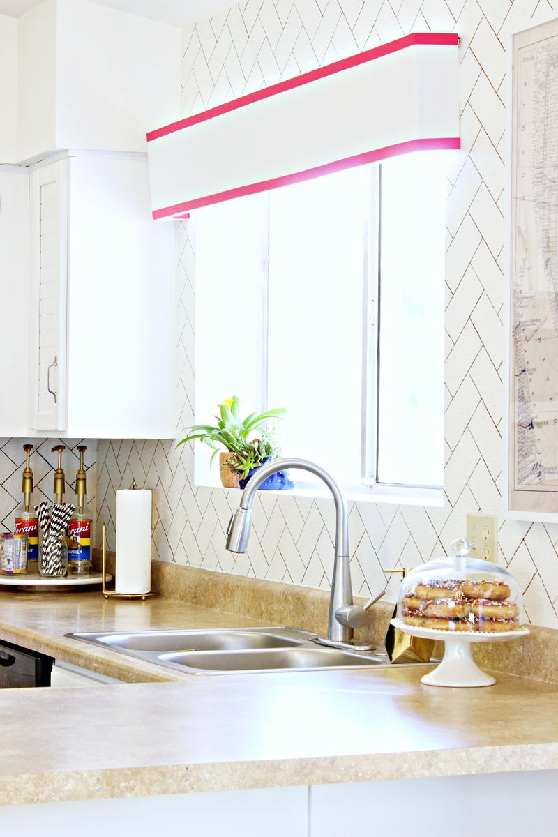 DIY Faux Herringbone Kitchen Backsplash