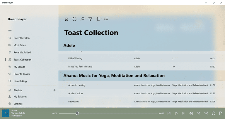 Figure 1-1: A screen shot of Bread Music Player with a collection selected.