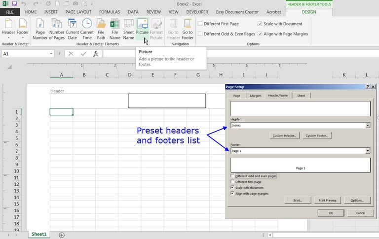 Add preset or custom headers and footers to excel worksheets ccuart