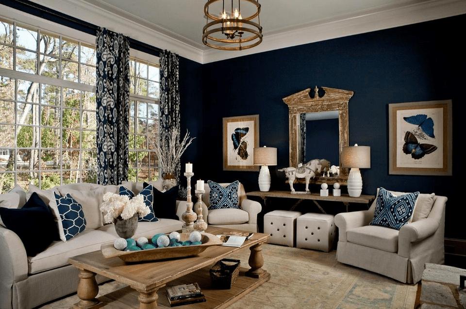 Dark Blue Transitional Living Room