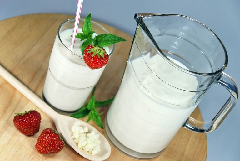 Pitcher and glass of kefir