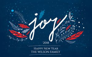 A blue, red, and white New Years card
