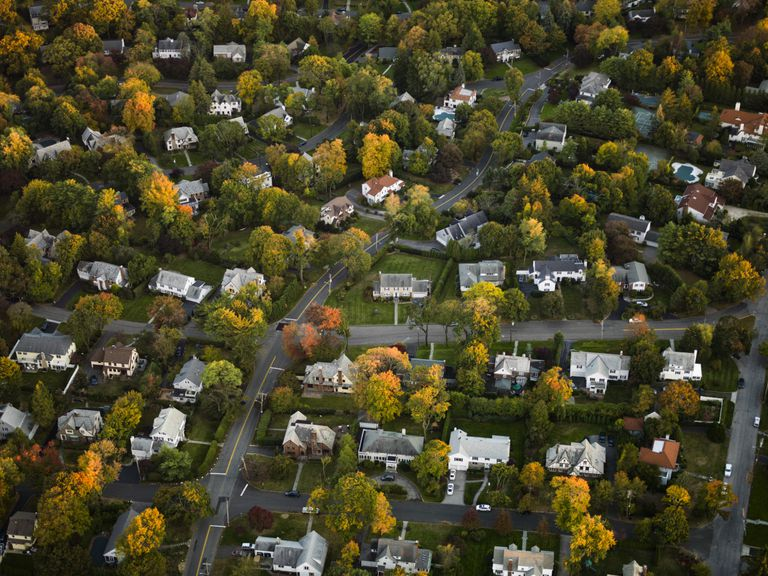 Aerial shot of suburban neighborhood