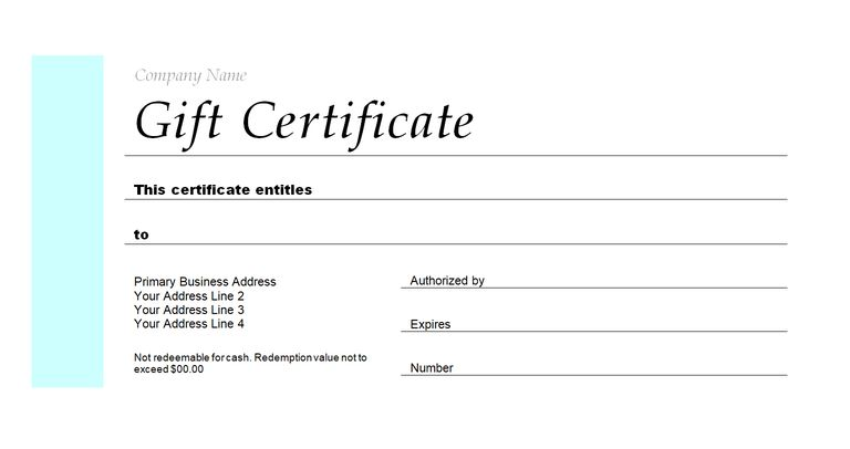 templates for gift certificate