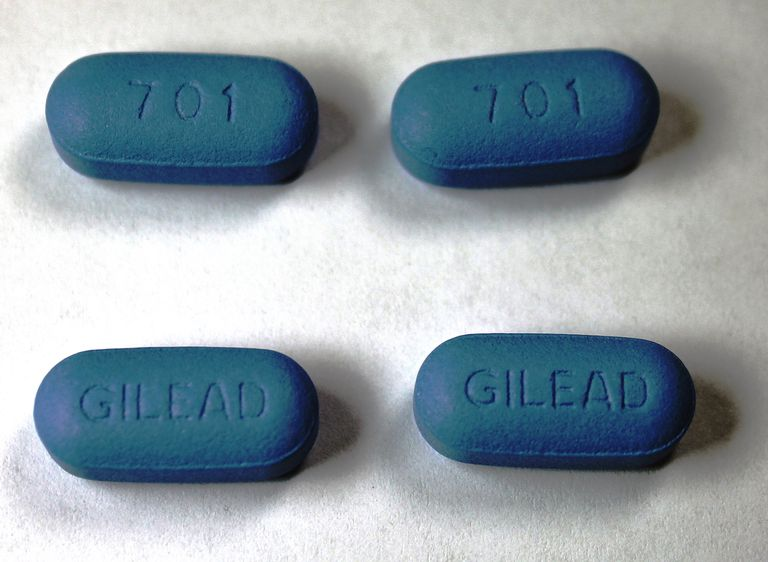 4 blue Truvada tablets