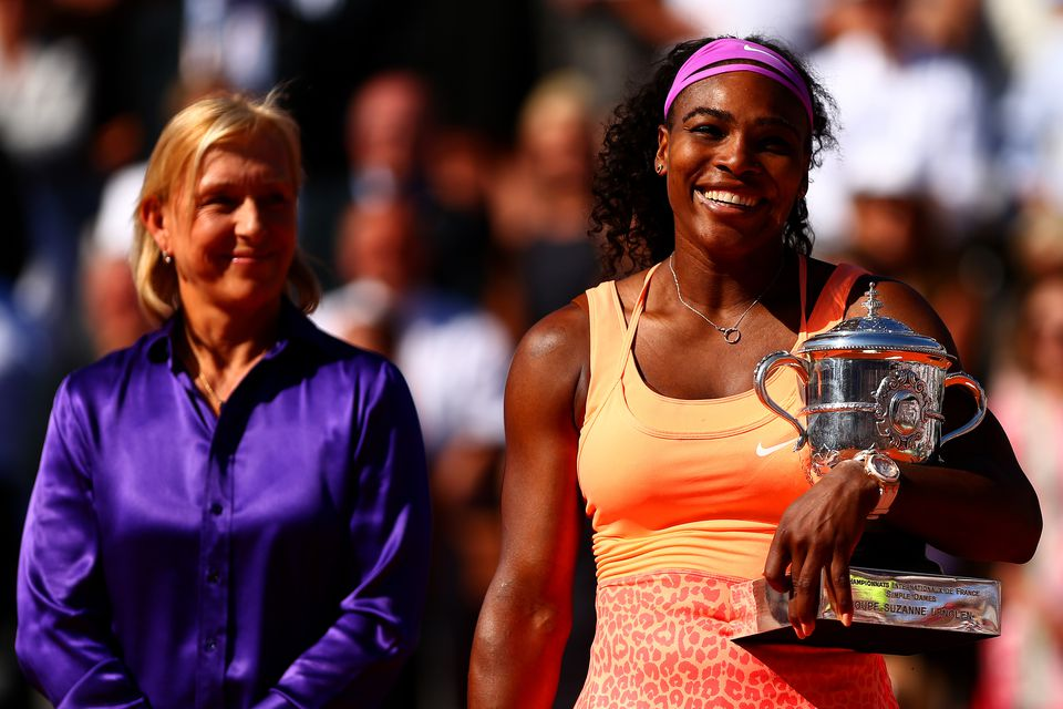 Women's singles champion 2015 Serena Williams (USA) with tennis legend Martina Navratilova at Roland Garros in Paris.