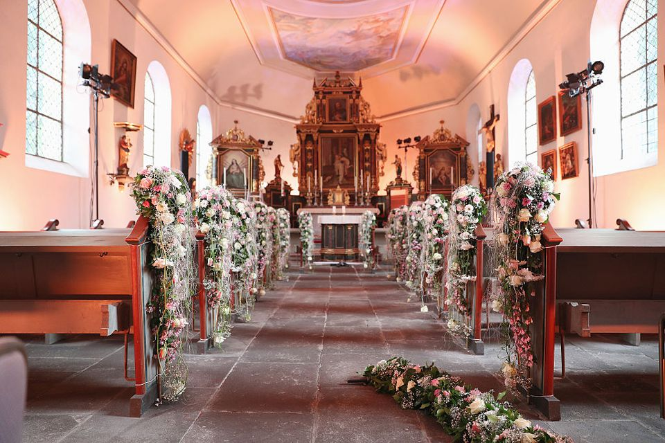 A chapel decorated for a wedding