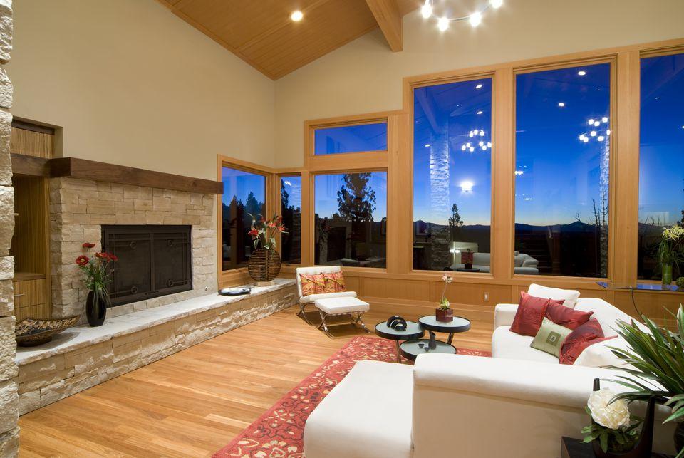 Modern Asian living room at sunset