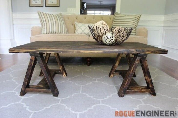 Free Sawhorse Coffee Table Plan from Rogue Engineer