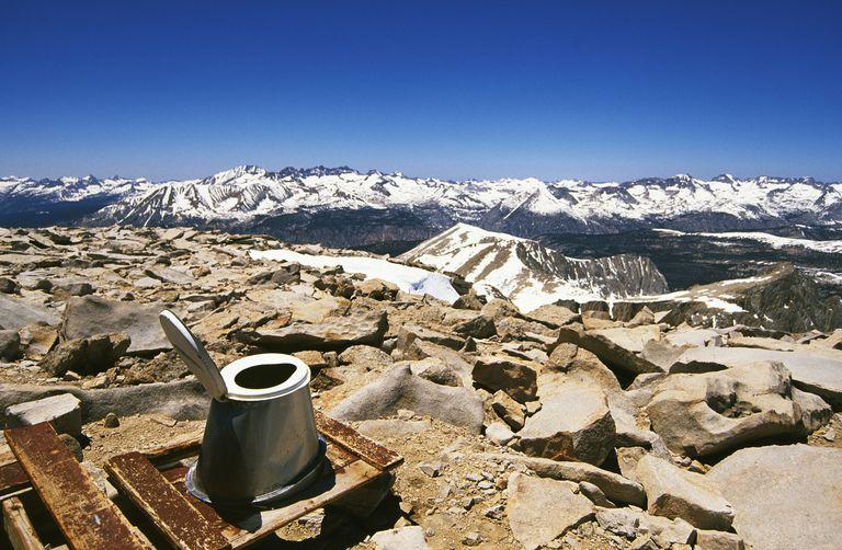 Toilet on the summit of Mount Whitney in California's Eastern Sierra