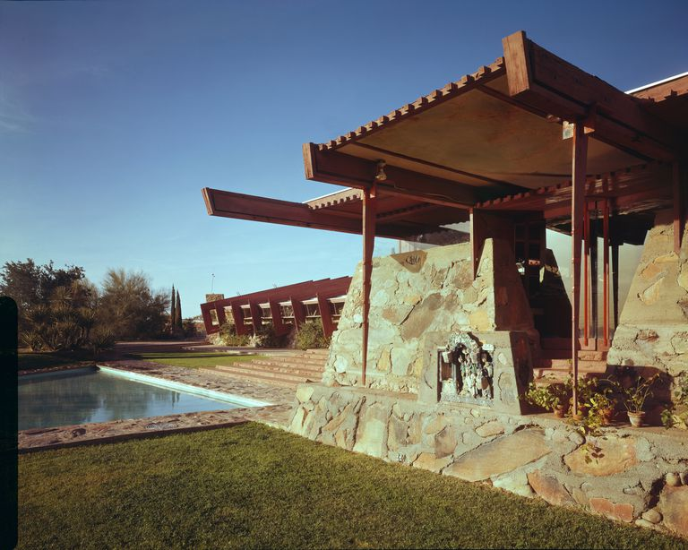 Frank Lloyd Wright Taliesin West in Arizona, made of stone, water, and wood.