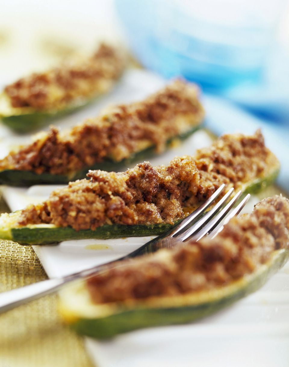 courgette stuffed with raw ham and mushrooms