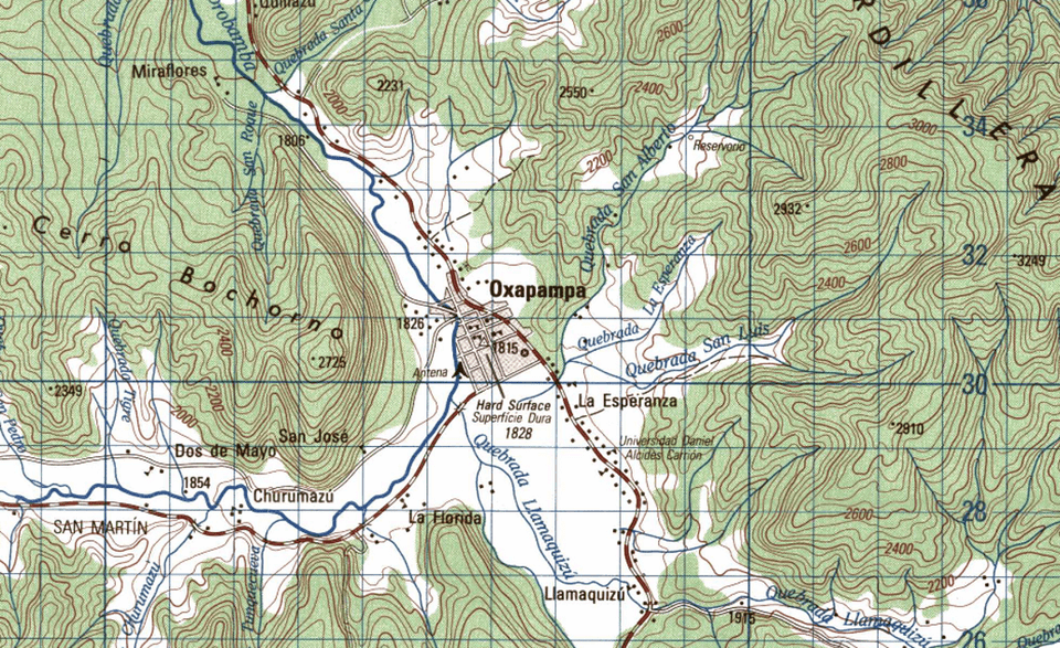 Topographic Map Oxapampa Peru Png Topographic Map Of Oxapampa Peru U S Defense Mapping Agency