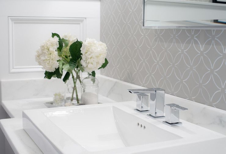 pictures of gray and white bathrooms. Gray and White Bathroom With Patterned Wallpaper 17 Classic Bathrooms